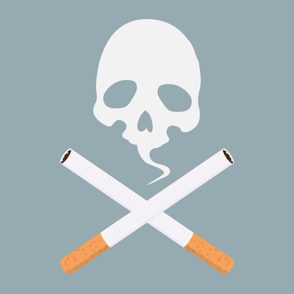 vetor de ícone de cigarro com crânio