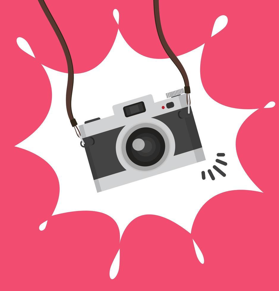 pendurar câmera em um conceito de estilo simples vetor