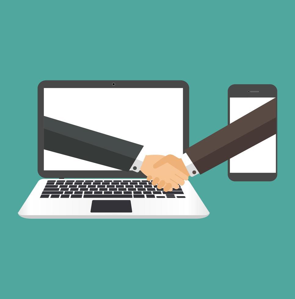 empresários apertando as mãos em uma tela de laptop e telefone vetor