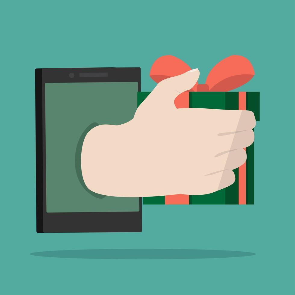 mão segurando um presente no celular vetor