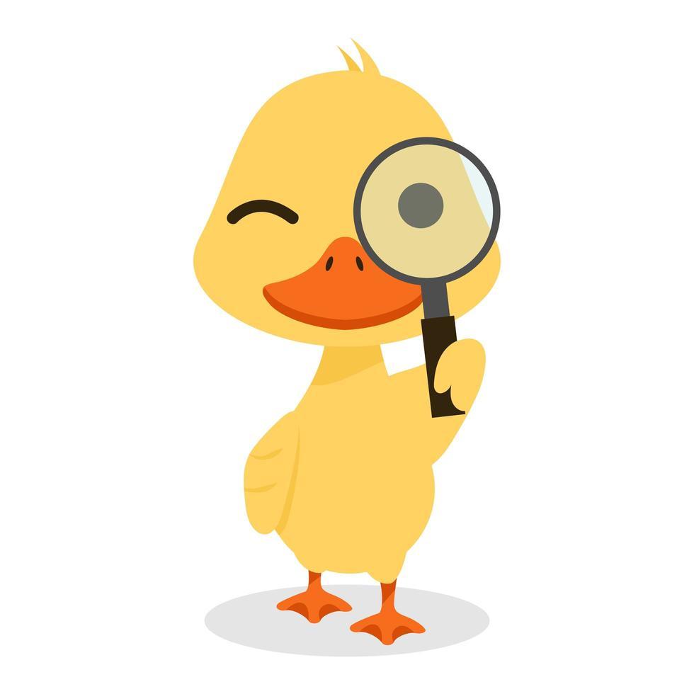 pato feliz com lupa vetor
