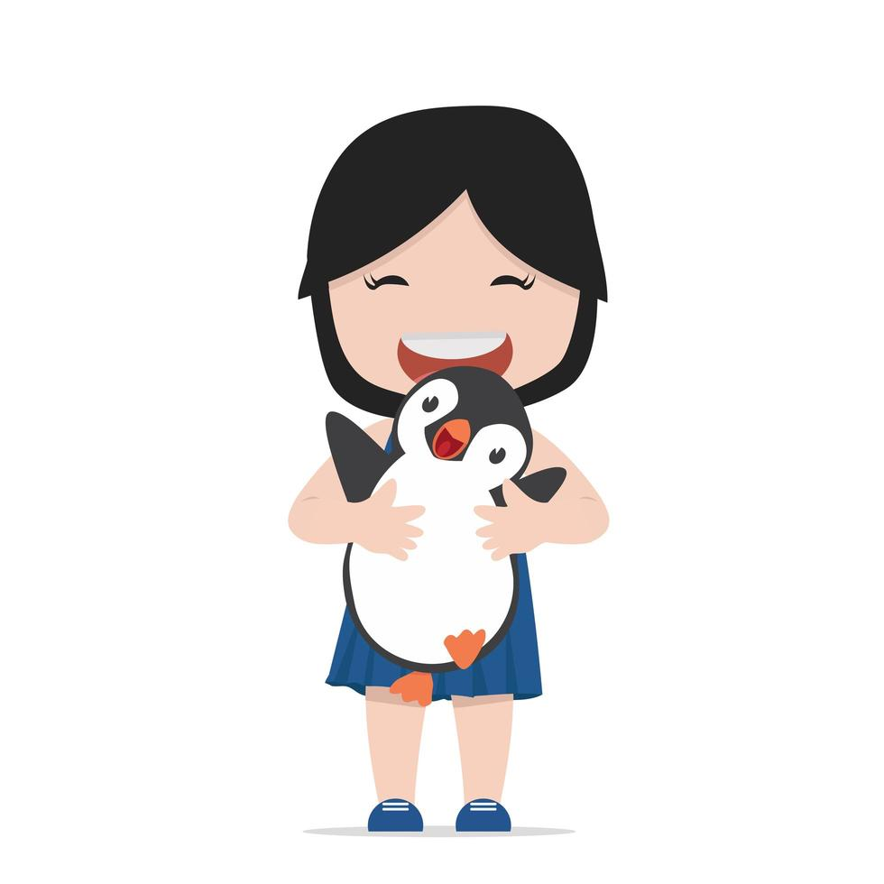 menina abraçando um pinguim vetor