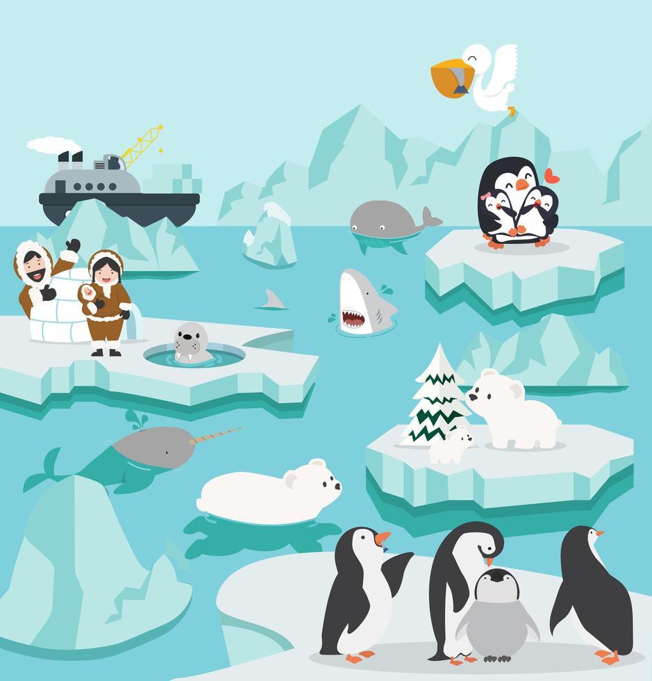 conjunto de paisagem do pólo norte bonito dos desenhos animados vetor