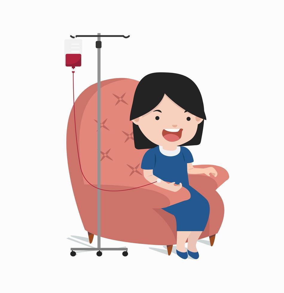 mulher doando sangue vetor