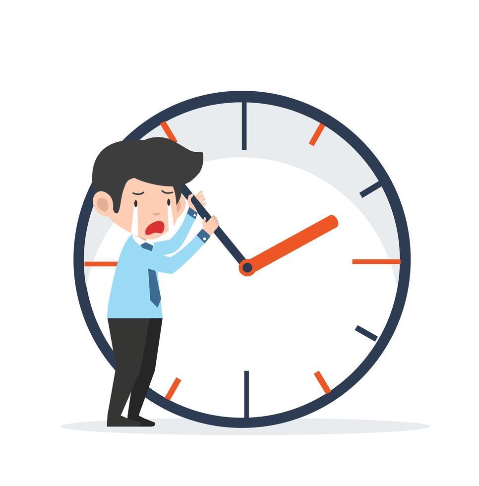 empresário triste tentando parar o tempo vetor