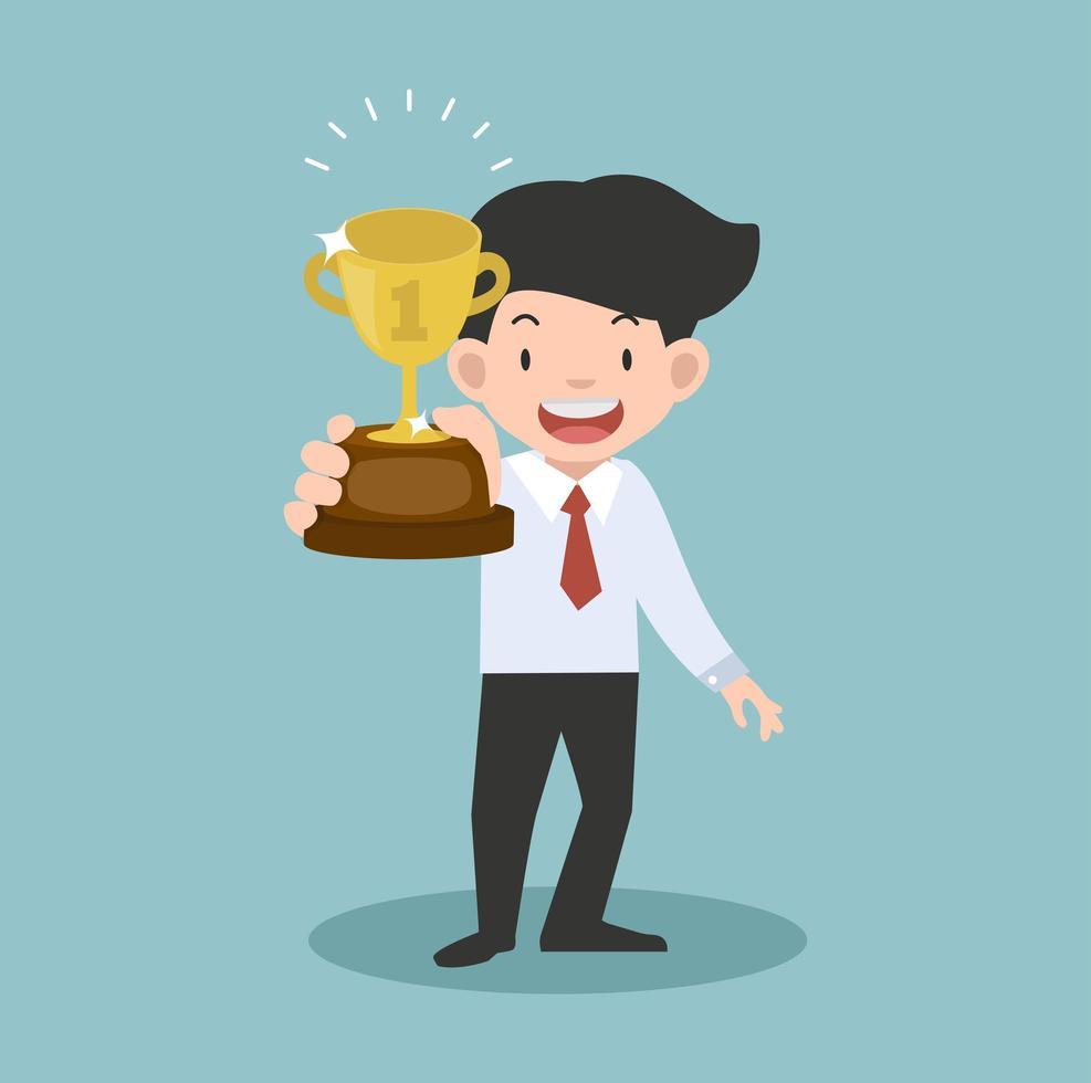 empresário segurando um conceito de copo de troféu vetor