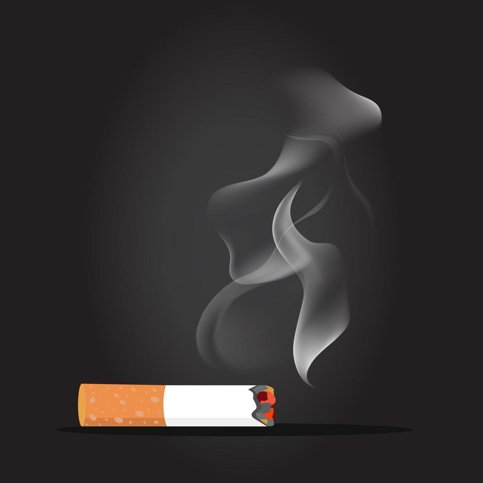 bituca de cigarro com conceito de fumaça vetor