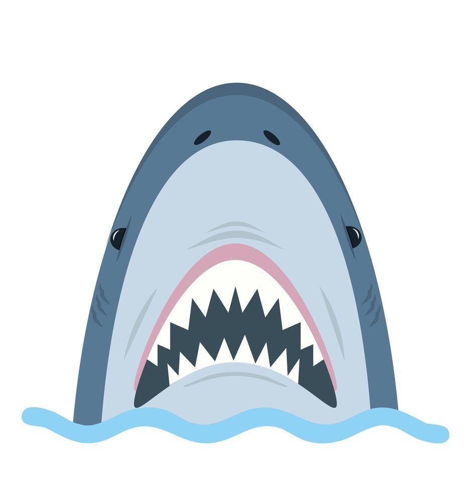 tubarão branco boca aberta na água vetor
