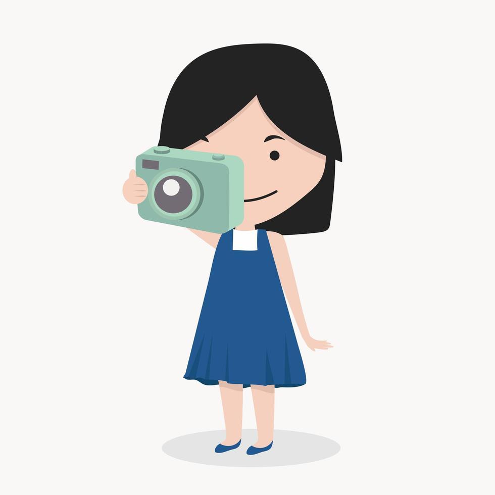 menina tirando uma fotografia vetor
