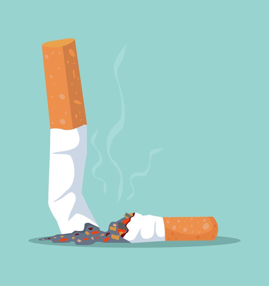 ícone de bituca de cigarro plano vetor