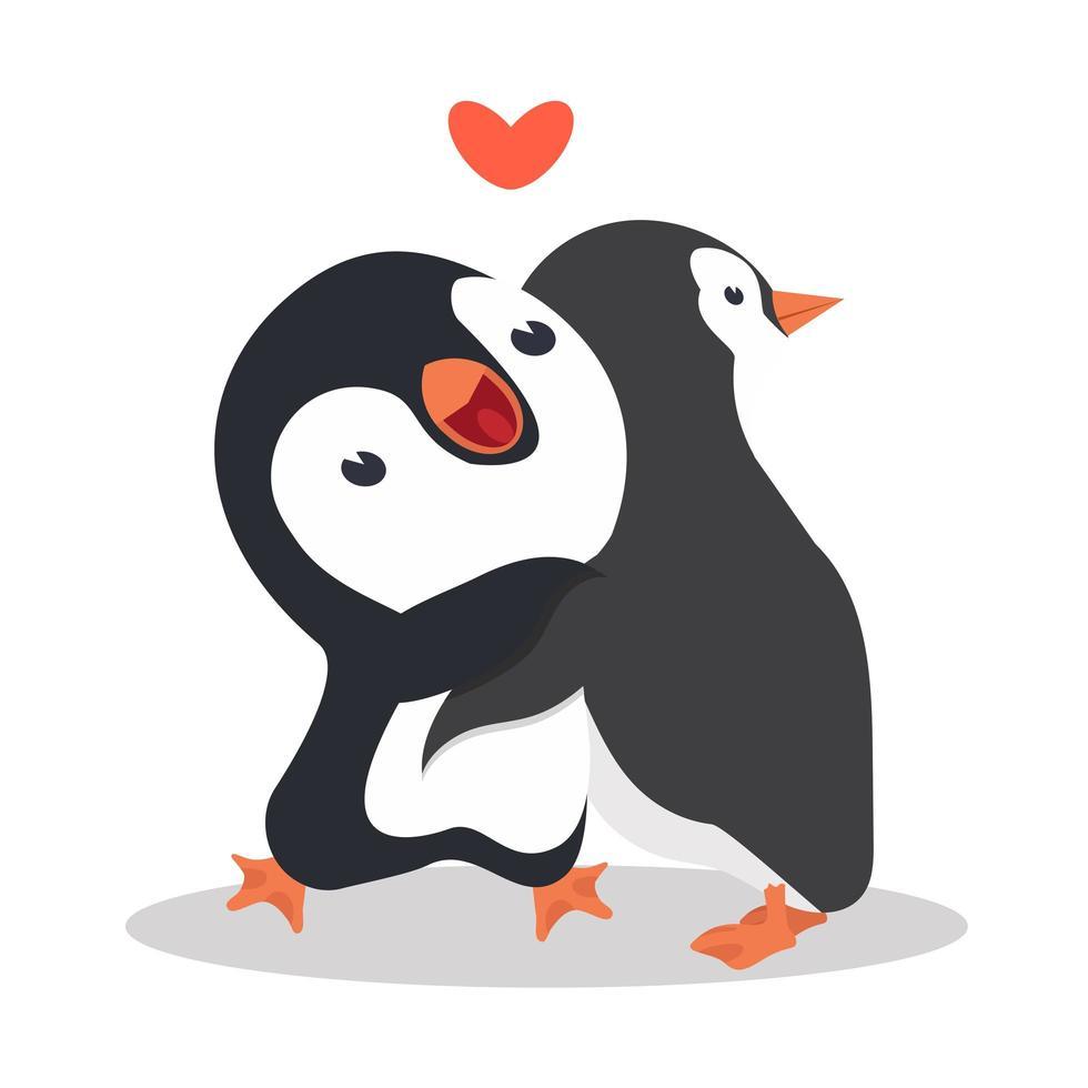 pinguins fofos se abraçando vetor