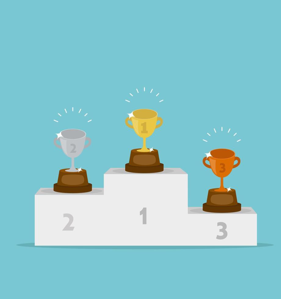 pódio do vencedor com taças de ouro, prata e bronze conceito de vitória vetor