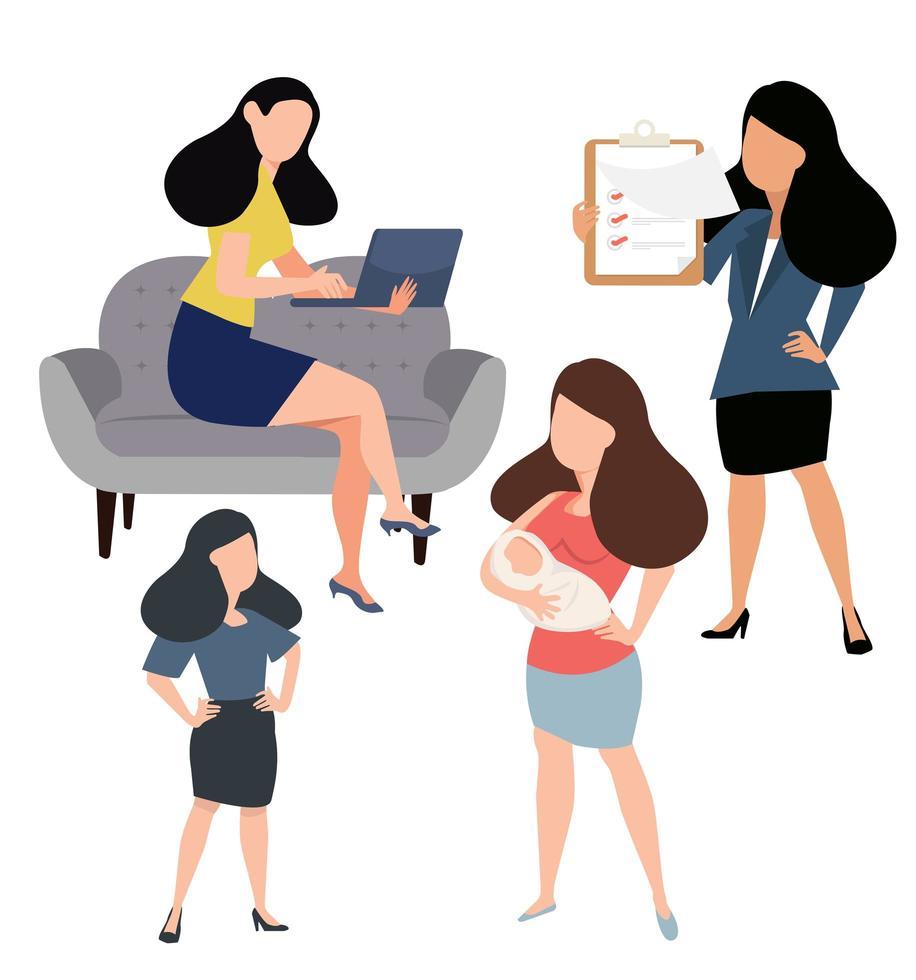 mulheres fazendo atividades diferentes vetor