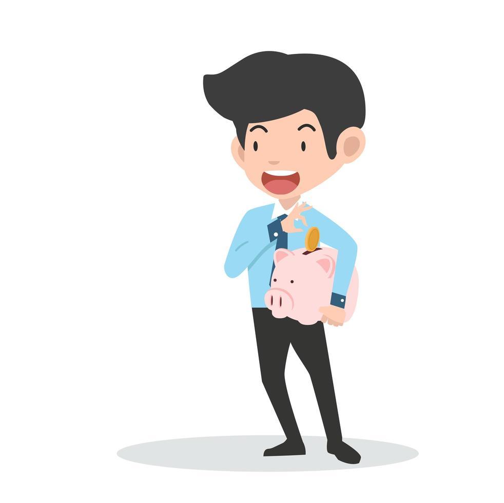 empresário segurando um cofrinho e economizando dinheiro vetor