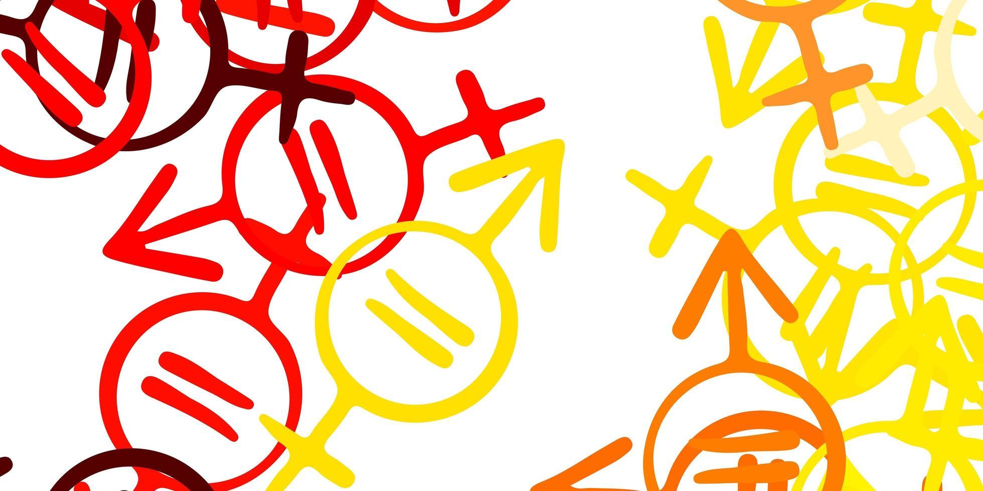 fundo vector vermelho e amarelo claro com símbolos de mulher.