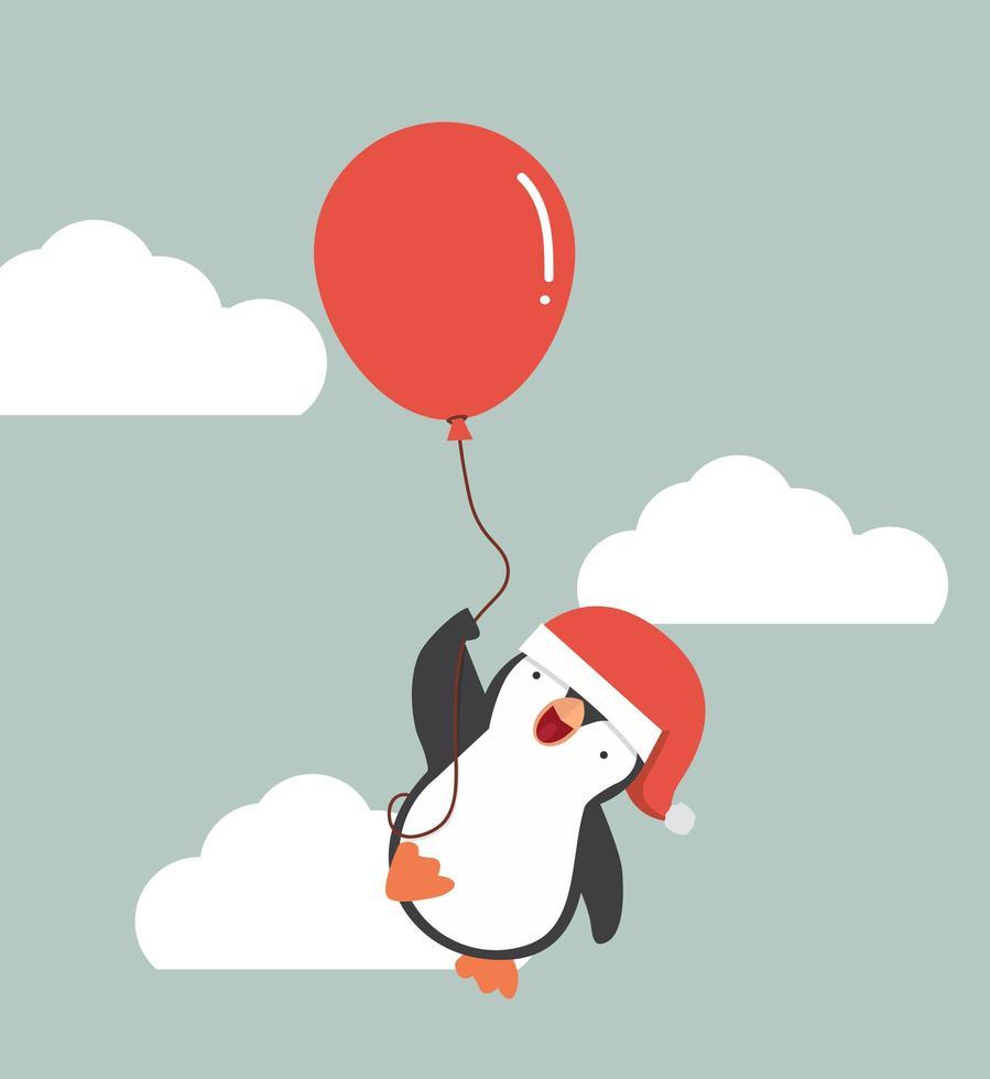 pinguim fofo voando preto com balão vetor