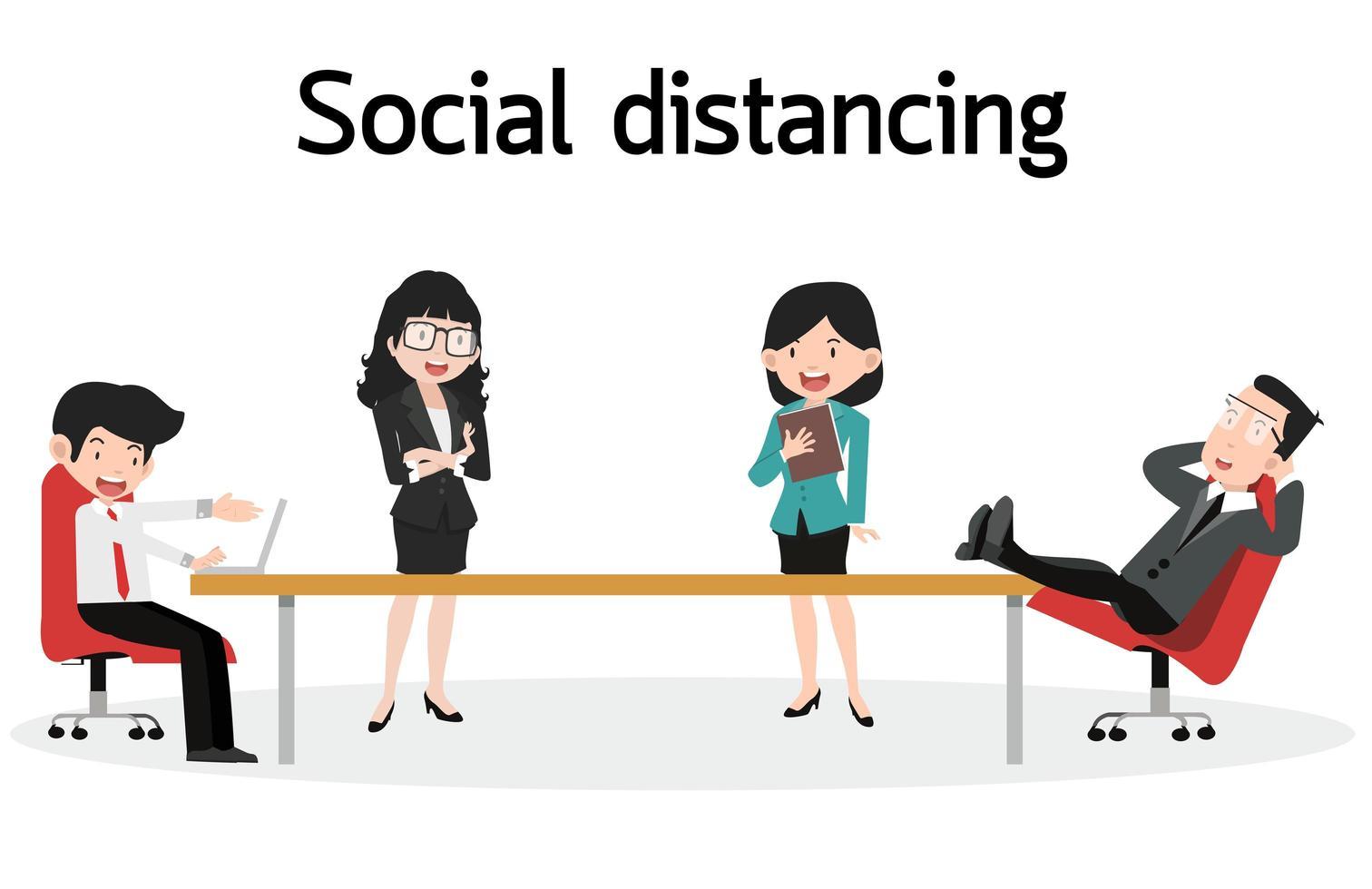 distanciamento social dos funcionários do escritório de negócios vetor