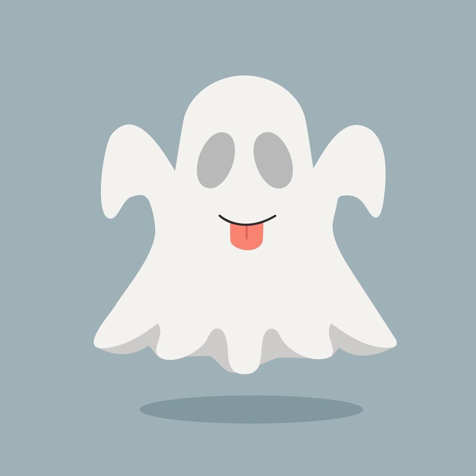 fantasma fofo com a língua de fora vetor