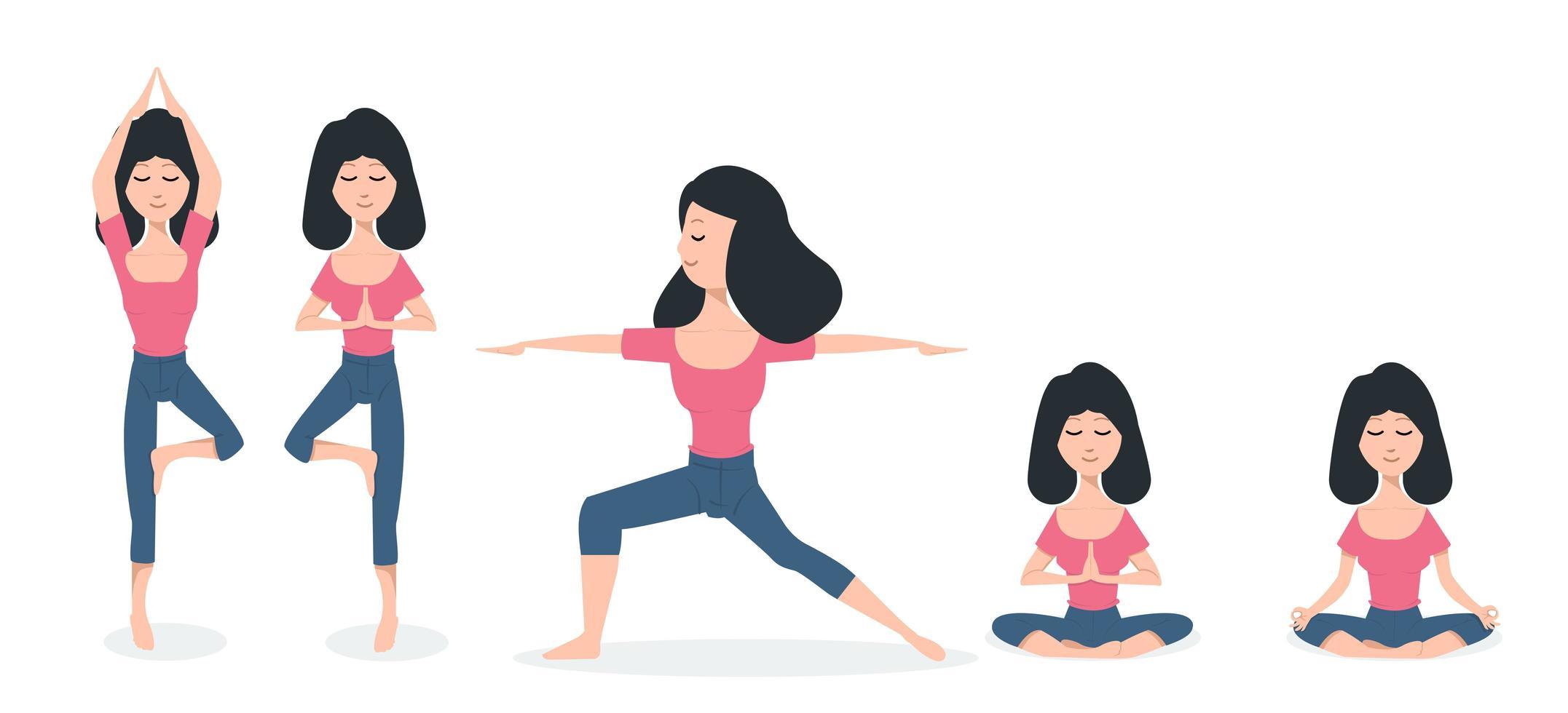 mulheres praticando poses de ioga vetor