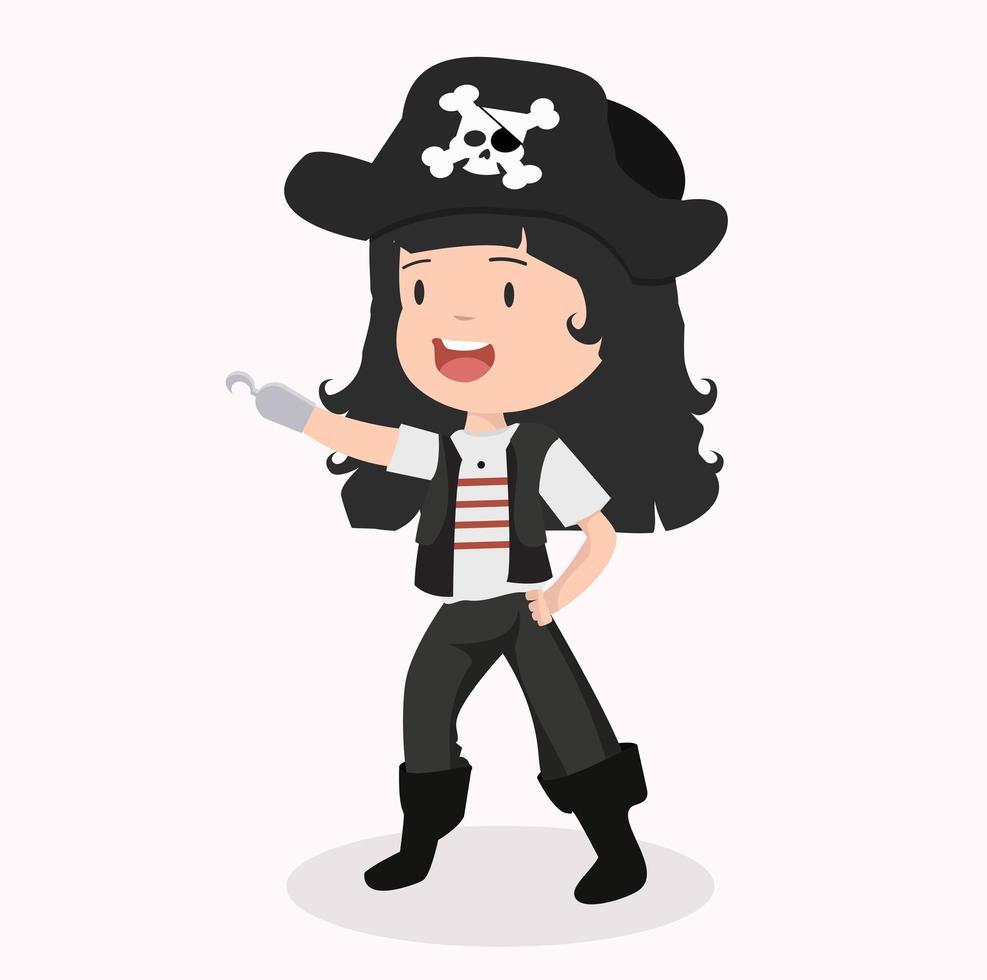 personagem linda garota em uma fantasia de pirata vetor