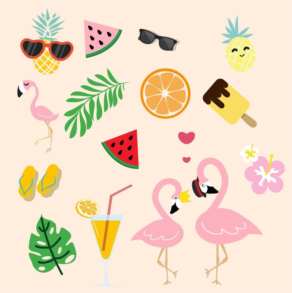 flamingo rosa fofo com verão tropical vetor
