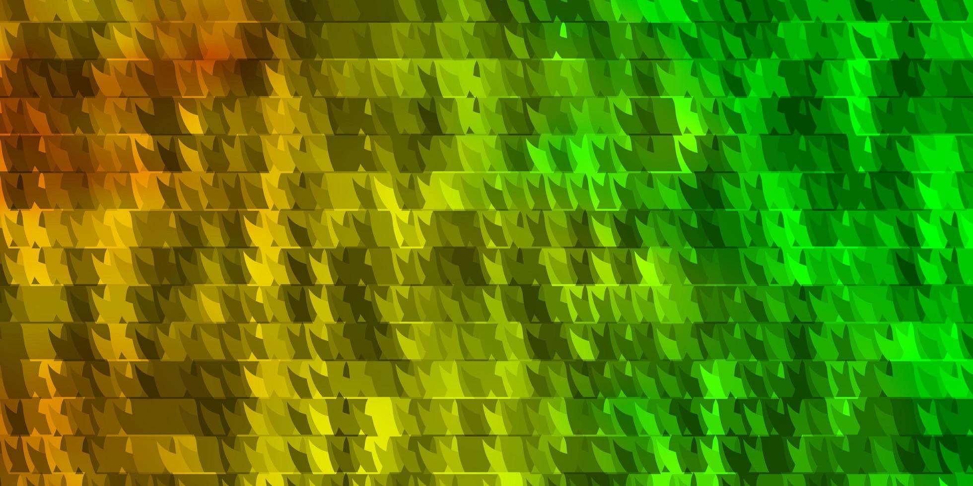 de fundo vector verde e amarelo claro com linhas, triângulos.