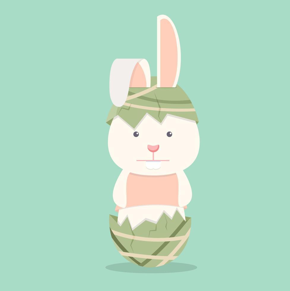 coelho liso engraçado com ovo de páscoa vetor