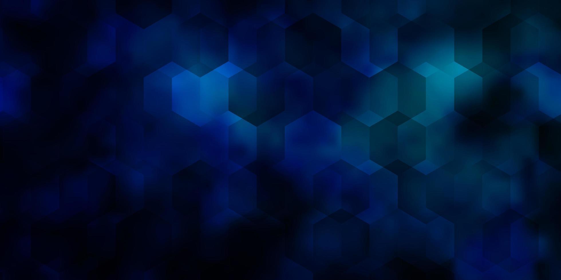 padrão de vetor azul escuro com hexágonos coloridos.