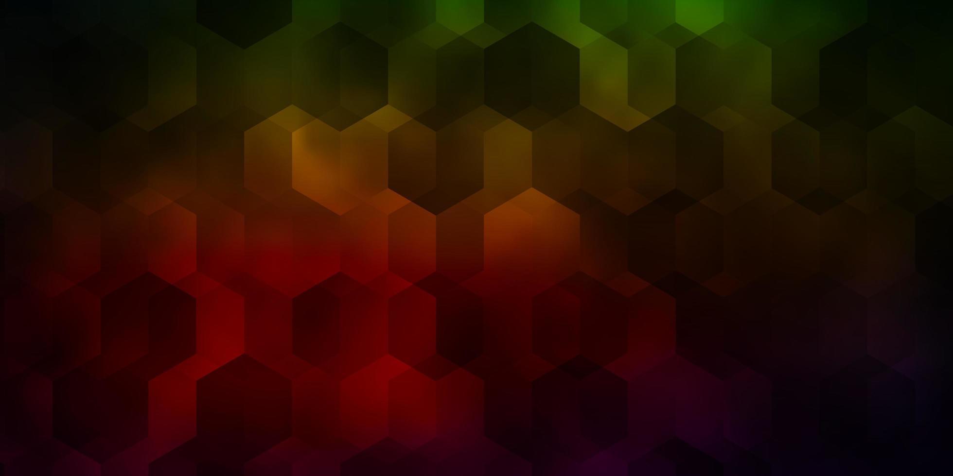 padrão de vetor verde e vermelho escuro com hexágonos coloridos.