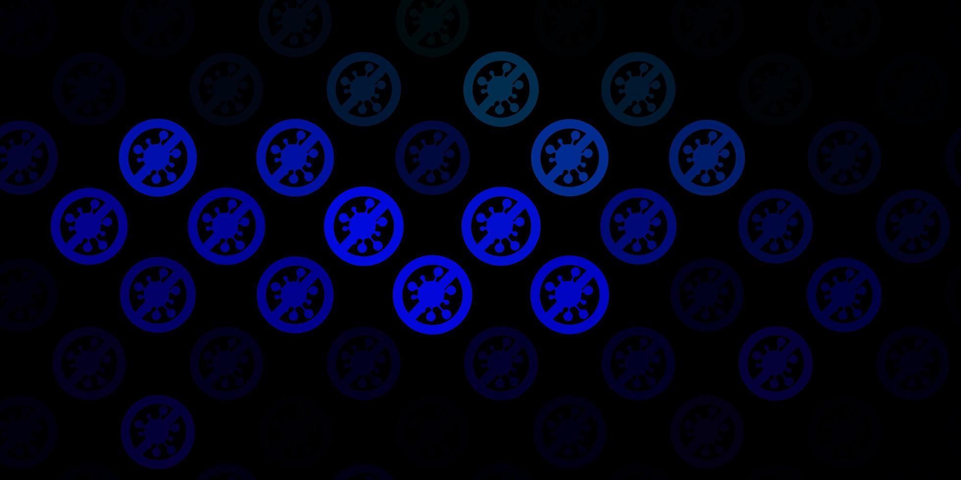 fundo de vetor azul escuro e verde com símbolos de vírus
