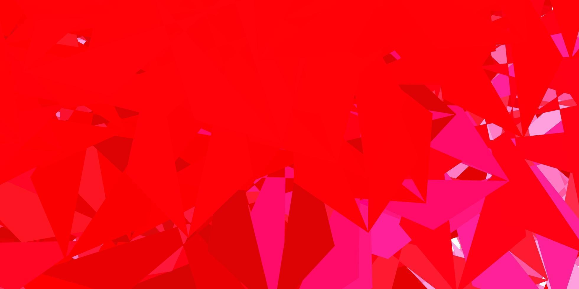 papel de parede de mosaico de triângulo de vetor em rosa claro e vermelho.