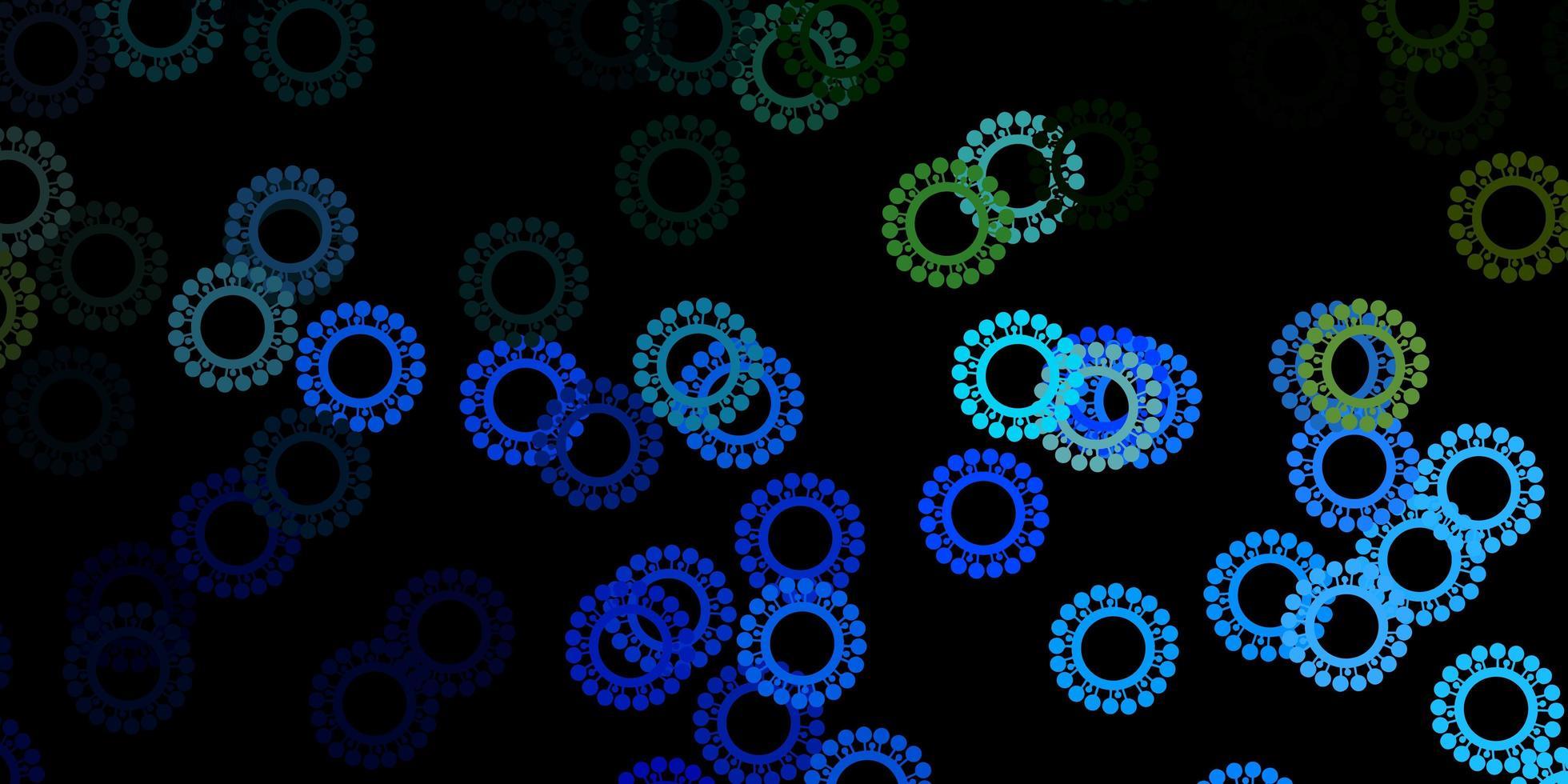 textura vector azul escuro, verde com símbolos de doenças