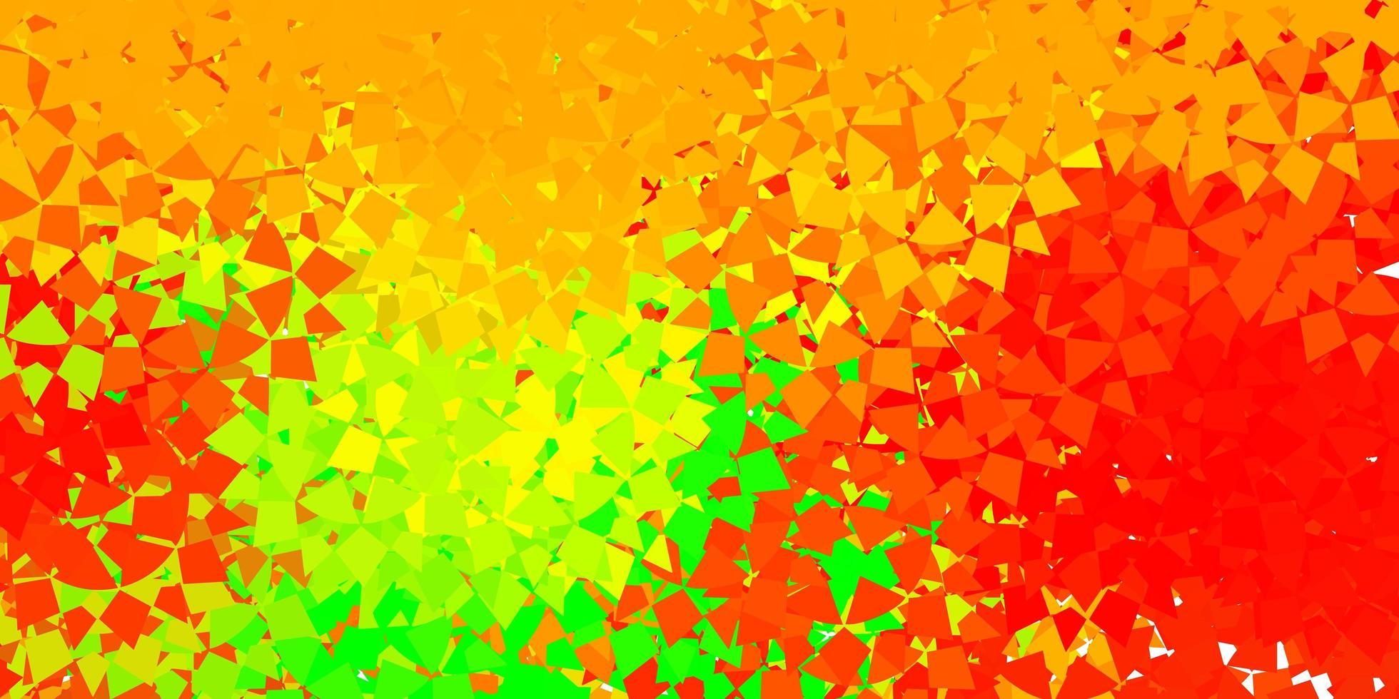 layout de vetor verde claro e vermelho com formas triangulares.