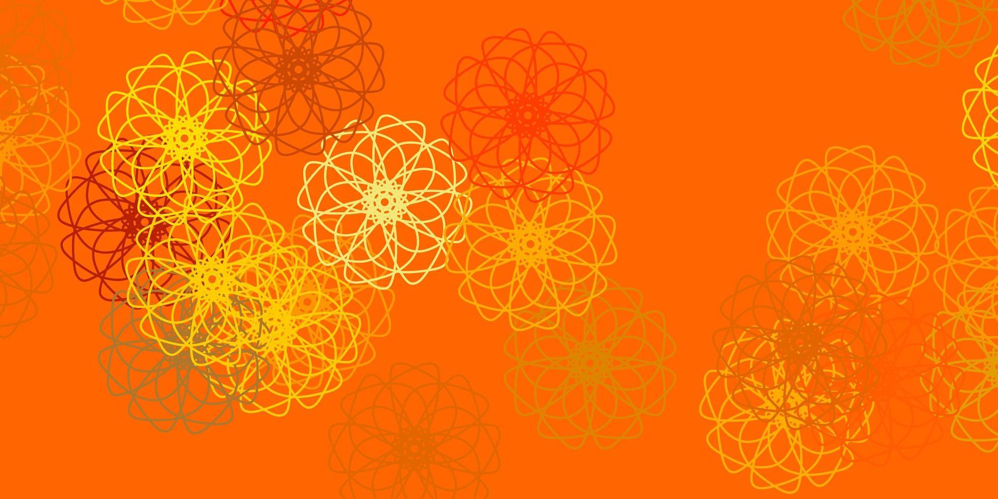 fundo do doodle do vetor amarelo claro com flores.
