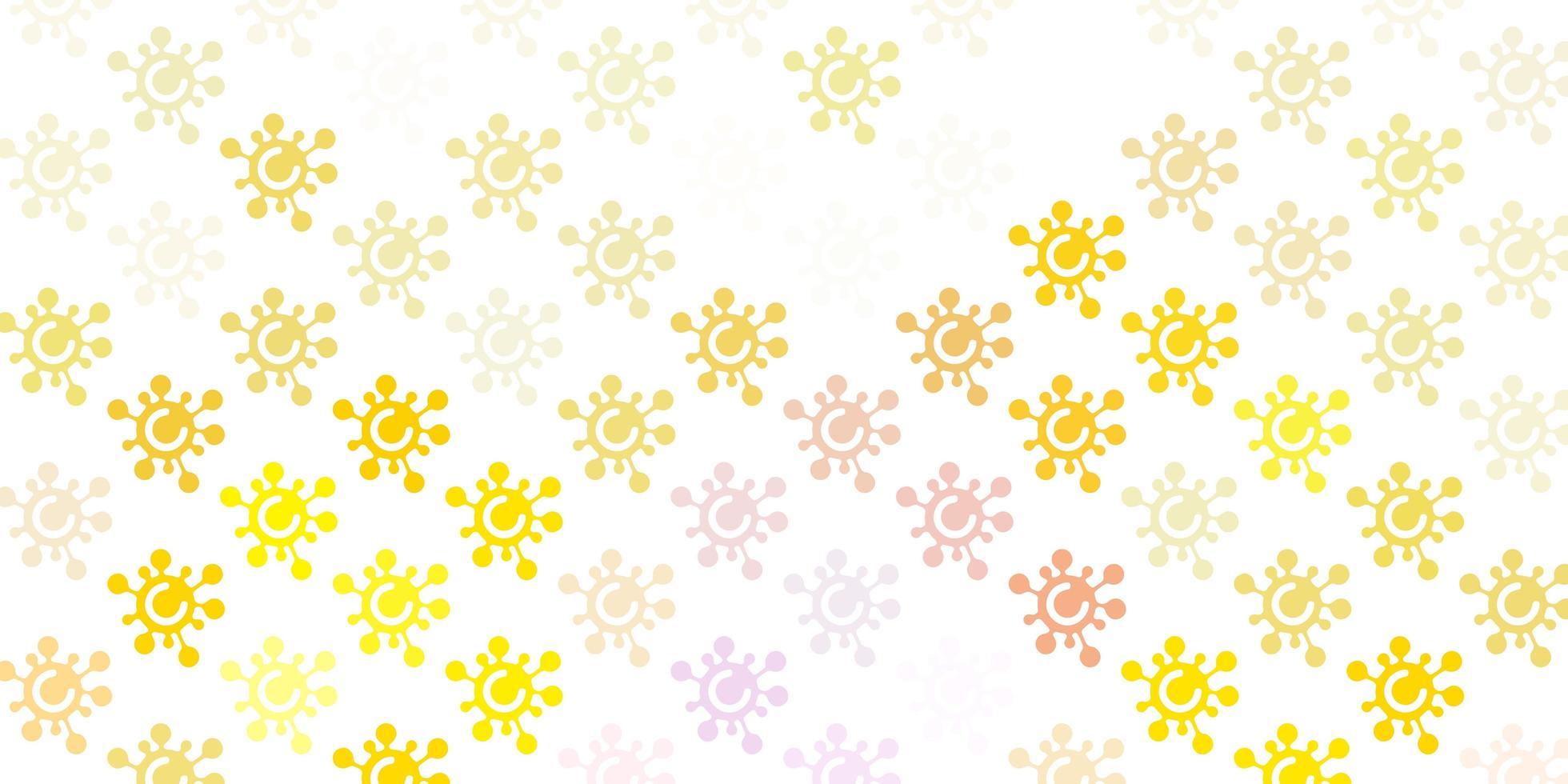 fundo de vetor rosa claro amarelo com símbolos de vírus