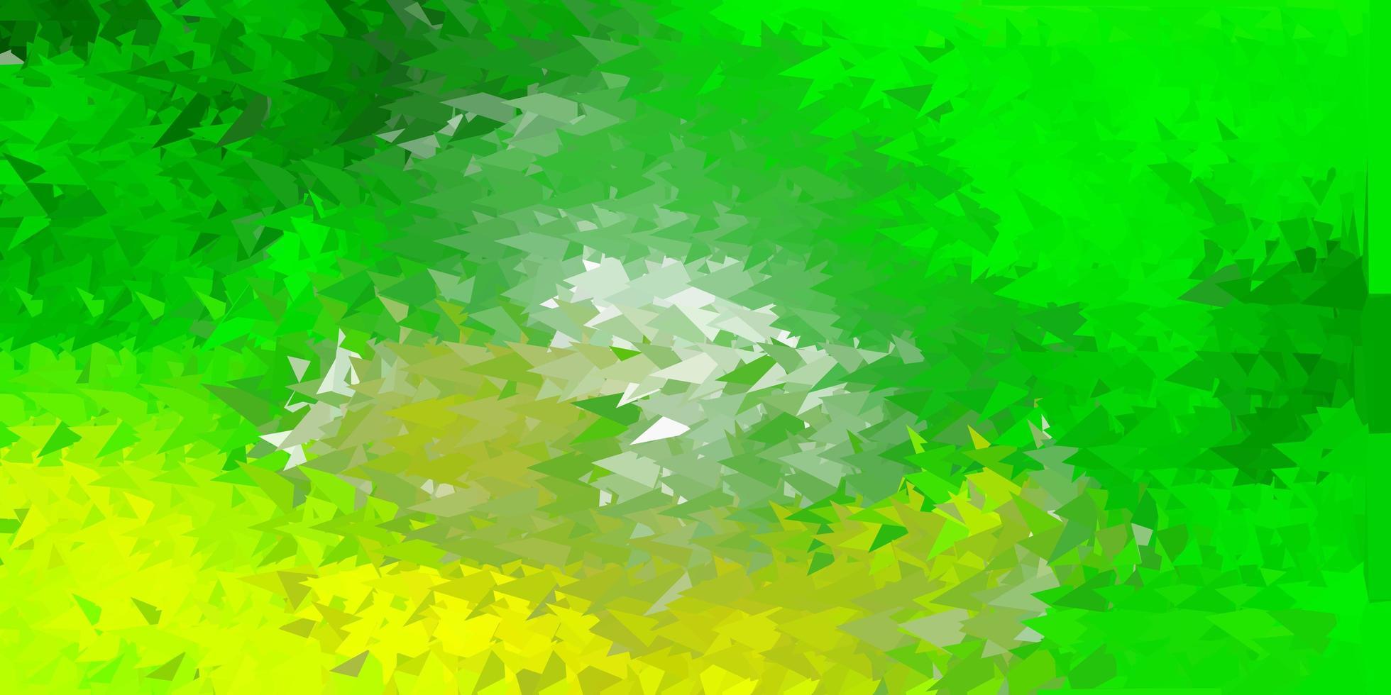 papel de parede de mosaico de triângulo de vetor verde claro e amarelo.