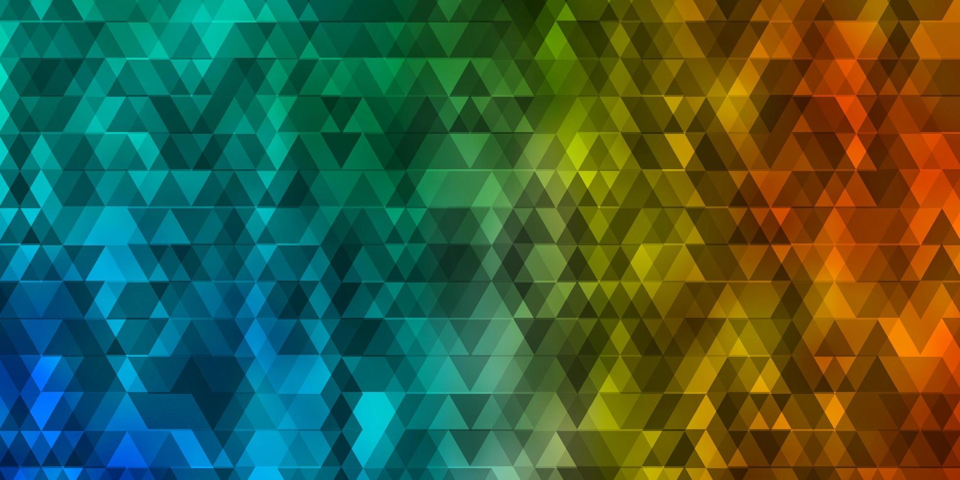 luz padrão de vetor azul e amarelo com linhas, triângulos.