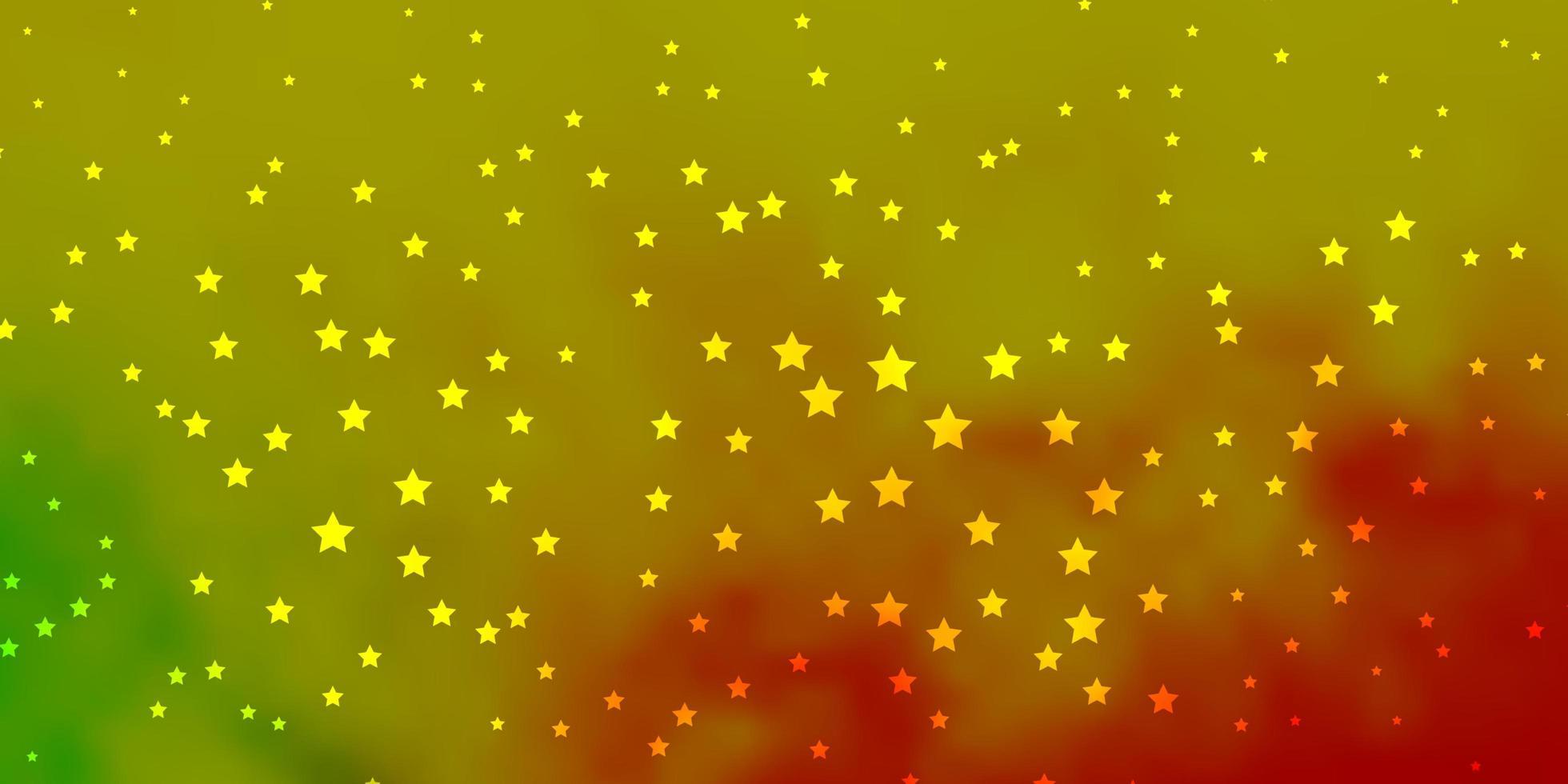 modelo de vetor vermelho e amarelo escuro com estrelas de néon.