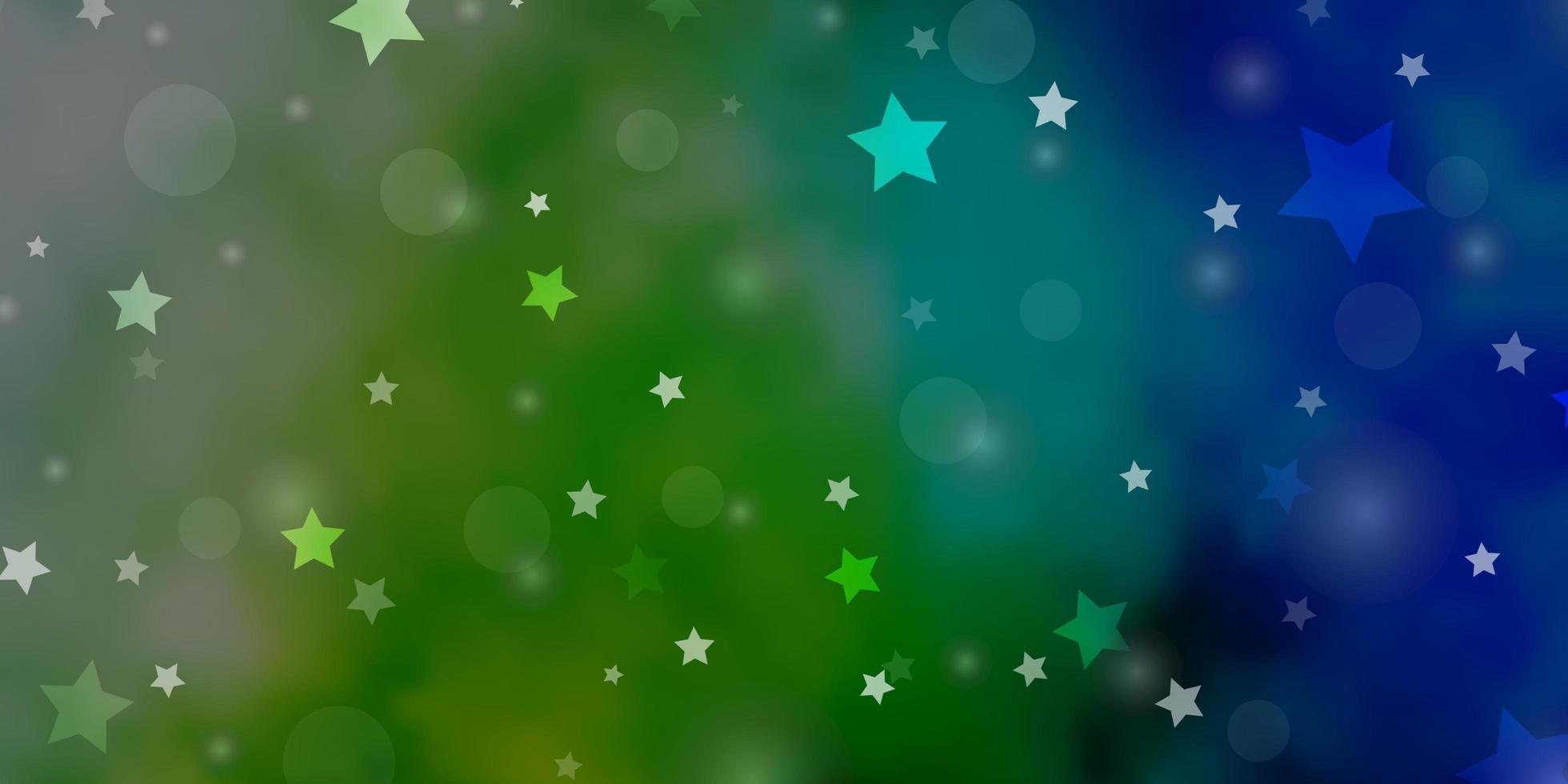 layout de vetor de azul claro e verde com círculos, estrelas.