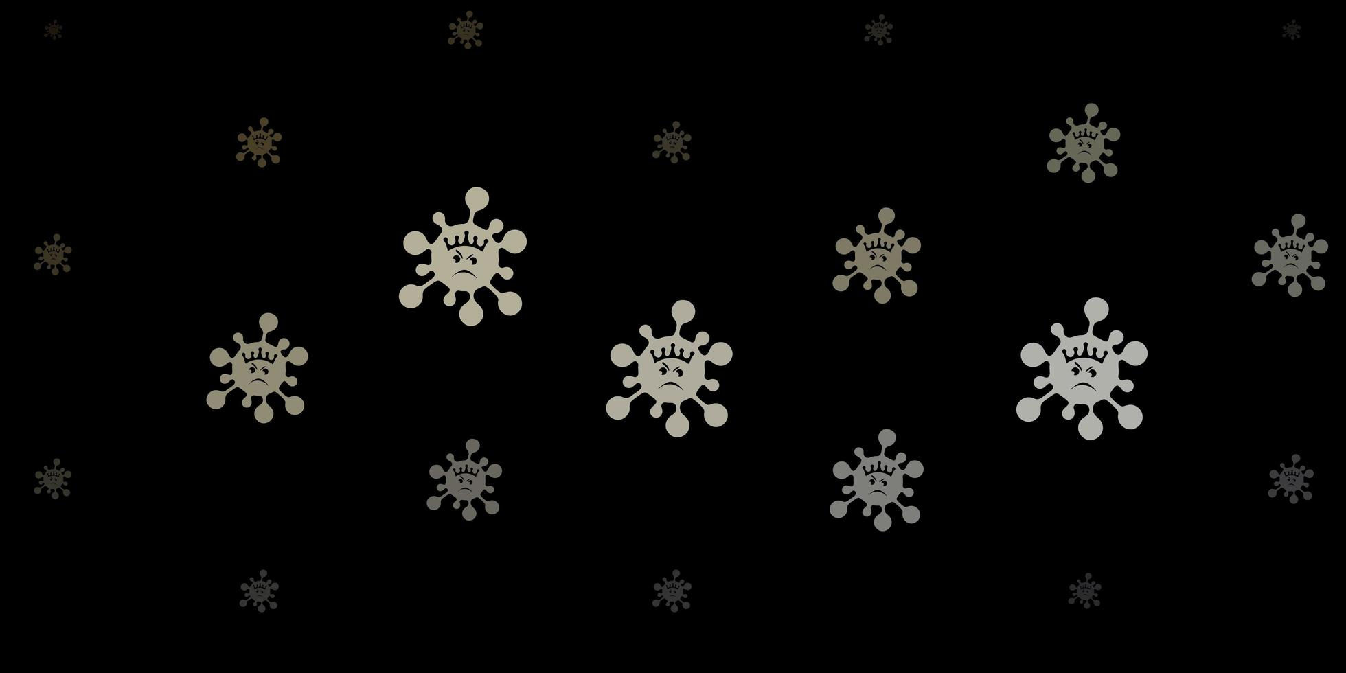 padrão vetorial cinza escuro com elementos de coronavírus vetor