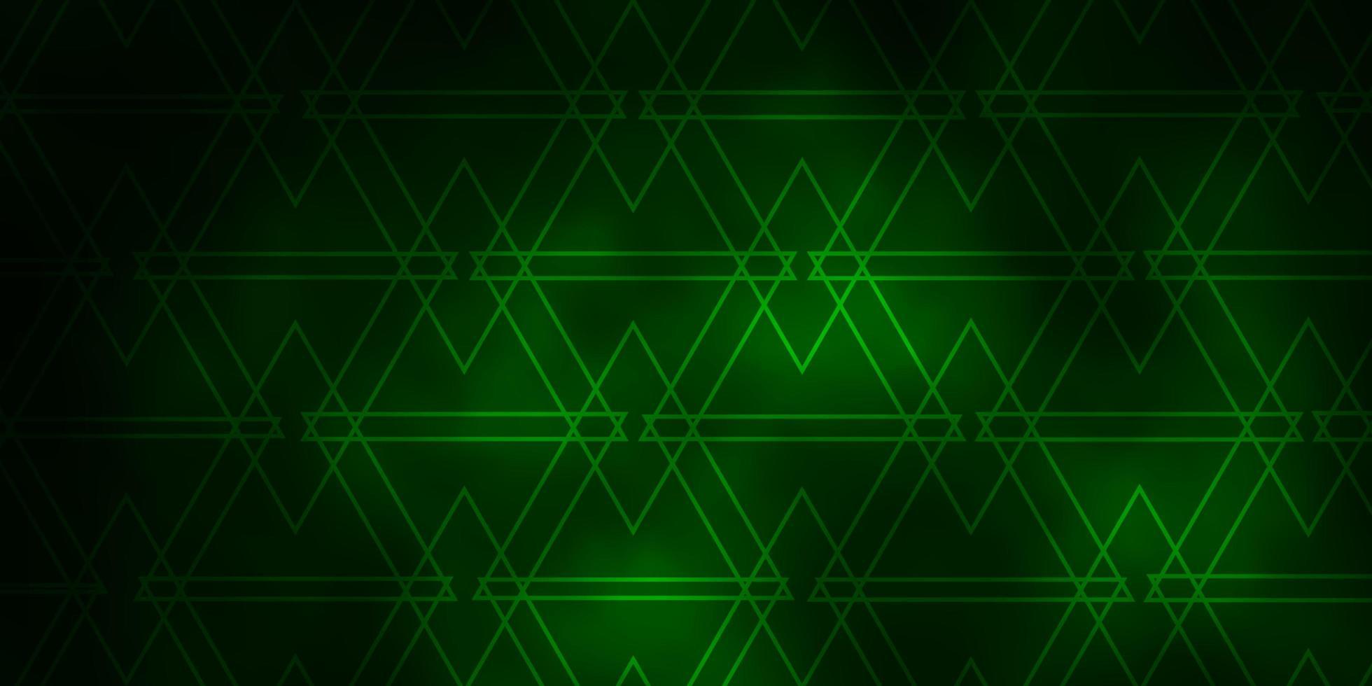 layout de vetor verde escuro com linhas, triângulos.
