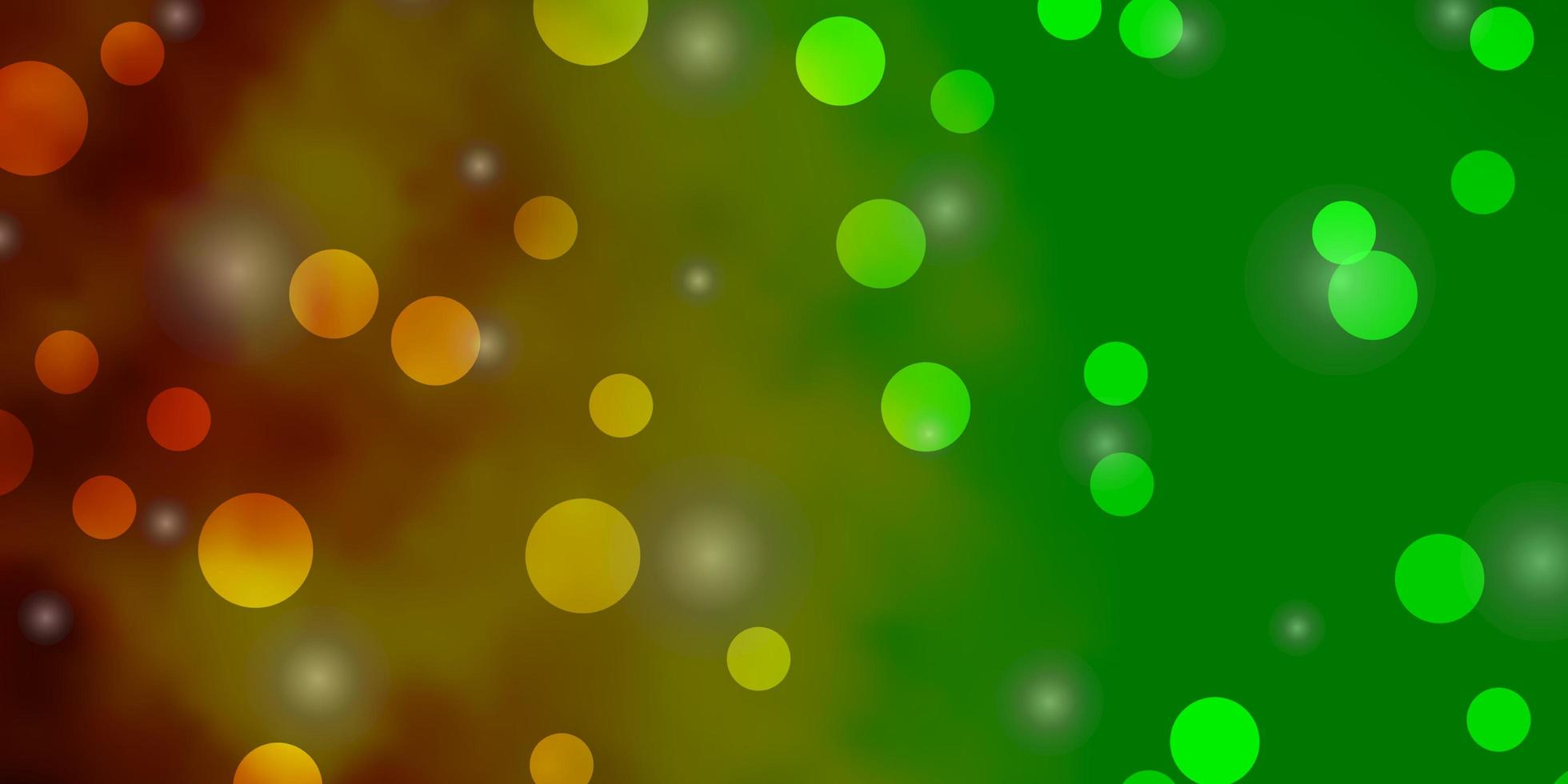 luz verde, padrão de vetor amarelo com círculos, estrelas.