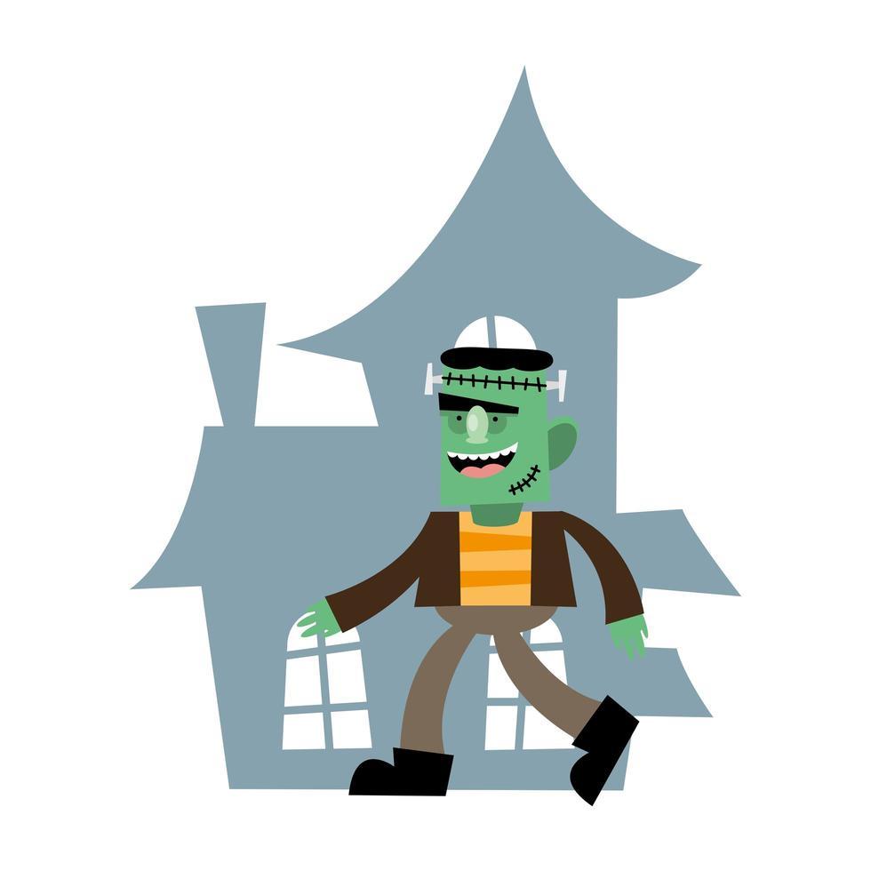 desenho animado frankenstein de halloween em frente a casa desenho vetorial vetor