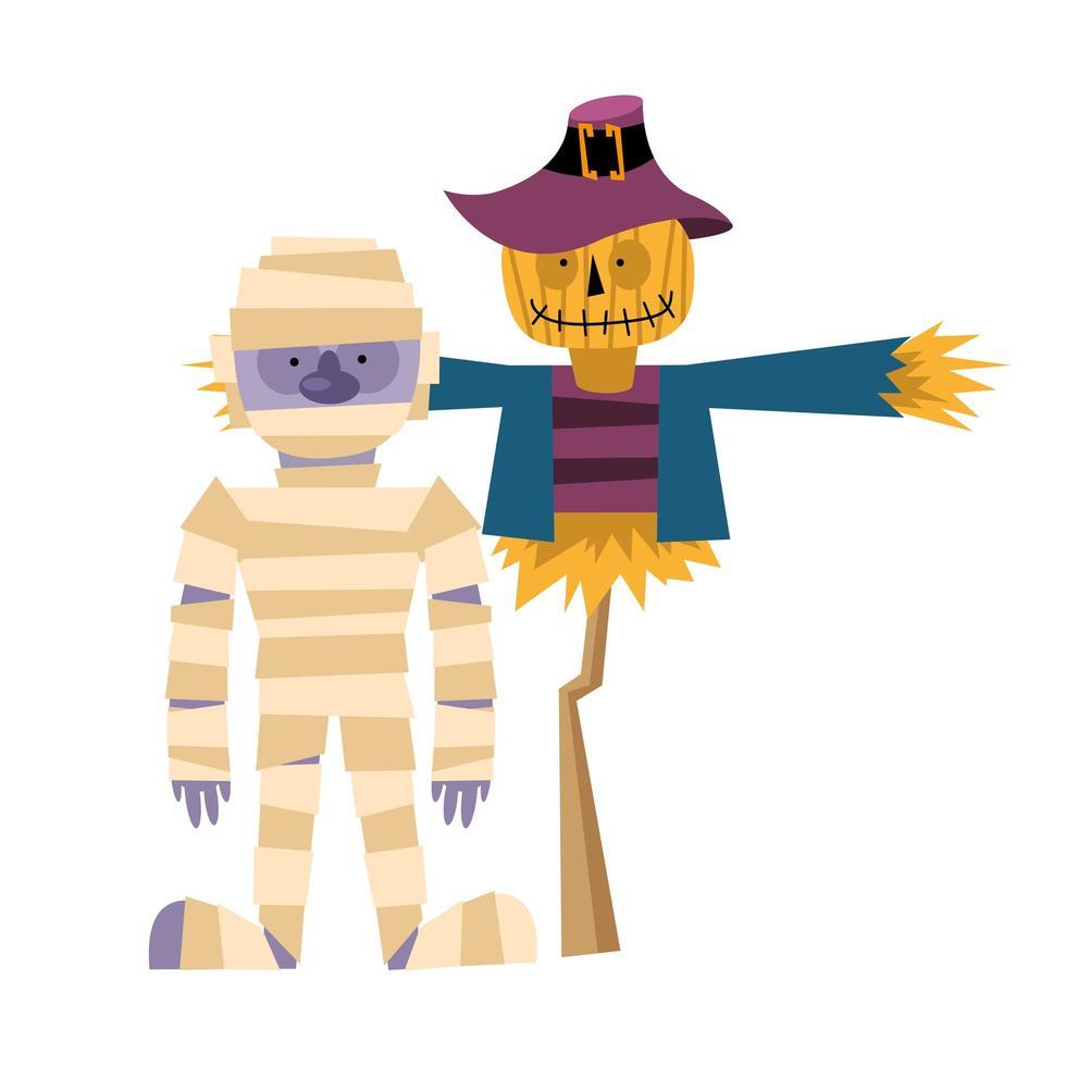 desenho de vetor de múmia e espantalho de halloween