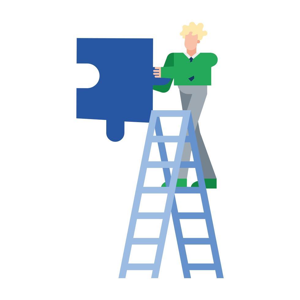 homem loiro com quebra-cabeça no desenho vetorial de escada vetor