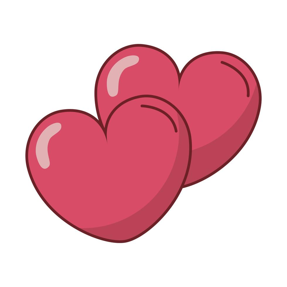 feliz dia dos namorados ícones de corações vetor