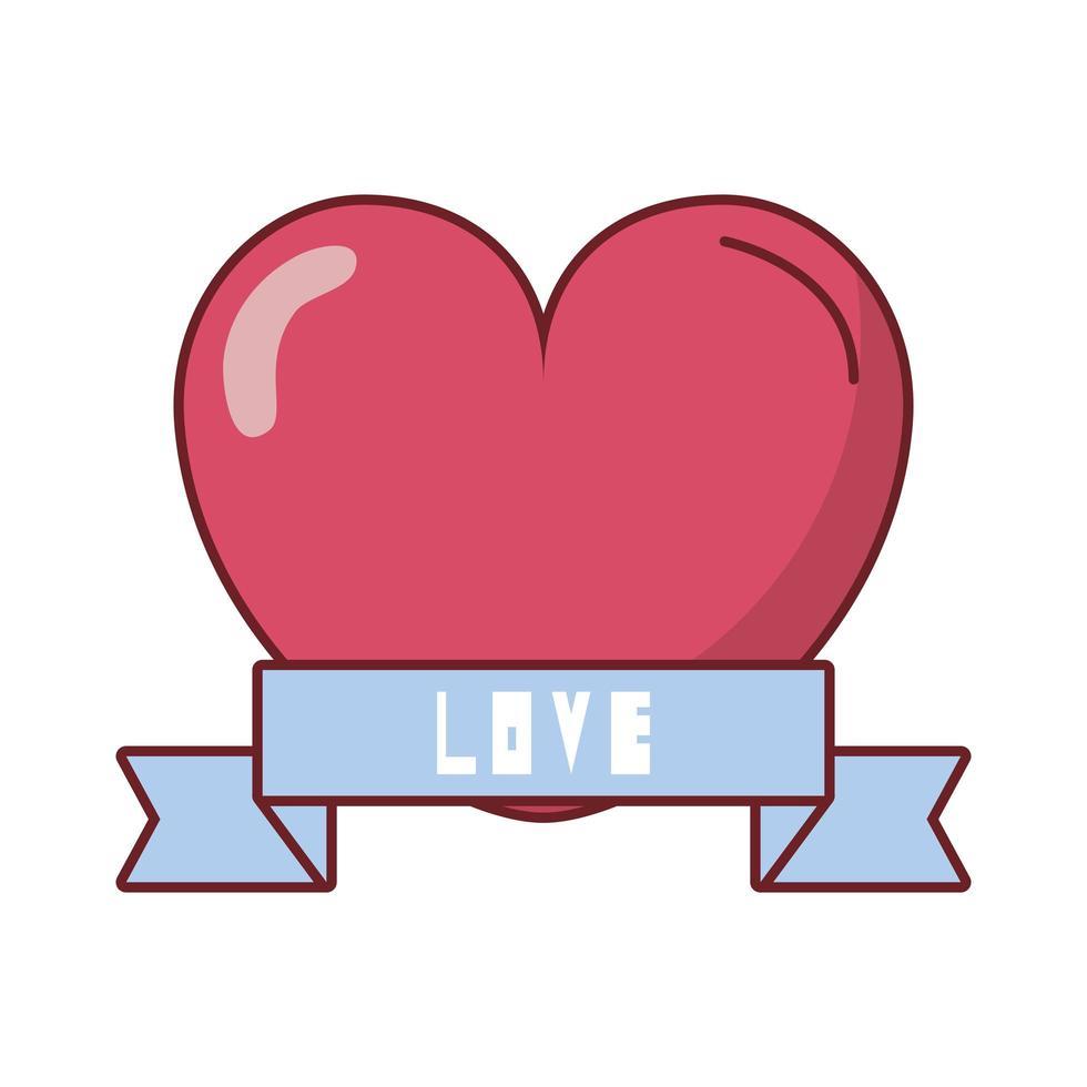 feliz dia dos namorados coração com moldura de fita vetor