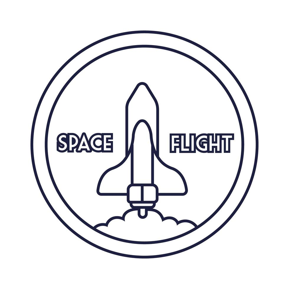 emblema circular espacial com estilo de linha voadora de nave espacial vetor