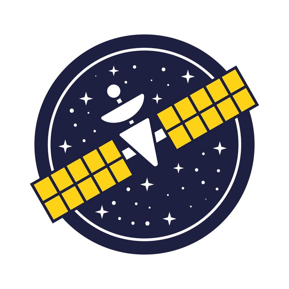 emblema do espaço com linha de satélite e estilo de preenchimento vetor