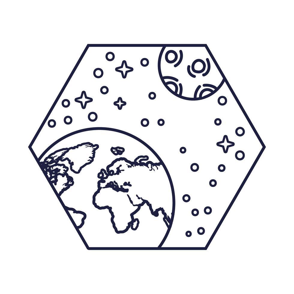 emblema do espaço com estilo de linha de planeta Terra e lua vetor